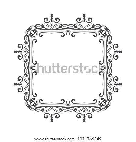 Vintage frame or border on white background Elegant hand drawn