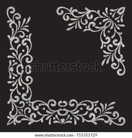 Silver Textured Vintage Corners On Black Background Elegant