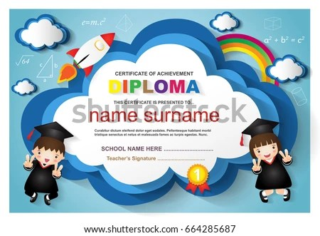 Kindergarten Diploma Template - Download Free Vector Art, Stock