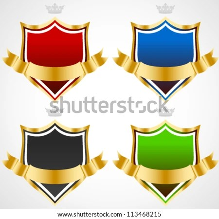 Black shield with a golden frame and a gold ribbon for your message