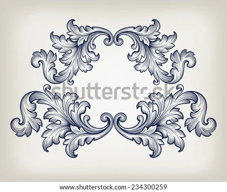 Baroque Floral Scrolls - Download Free Vector Art, Stock Graphics - baroque scroll designs