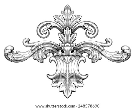 Baroque Ornament in Victorian Style - Download Free Vector Art - baroque scroll designs