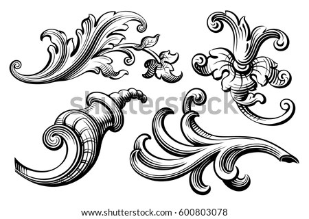 Romantic Floral Scrolls - Download Free Vector Art, Stock Graphics - baroque scroll designs