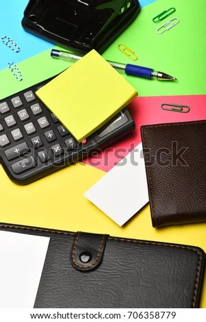 Business and work concept Mans leather wallet and stationery