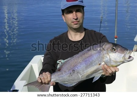 Fisherman Showing Proud His Good Catch Saltwater Fish, Over Boat Stock