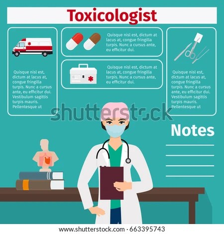 Female character of toxicologist and medical equipment icons with