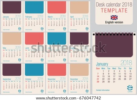 Colorful Vertical Calendar 2016 - Download Free Vector Art, Stock