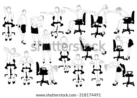 Collection of business woman doing exercise at the office Stock - office exercise