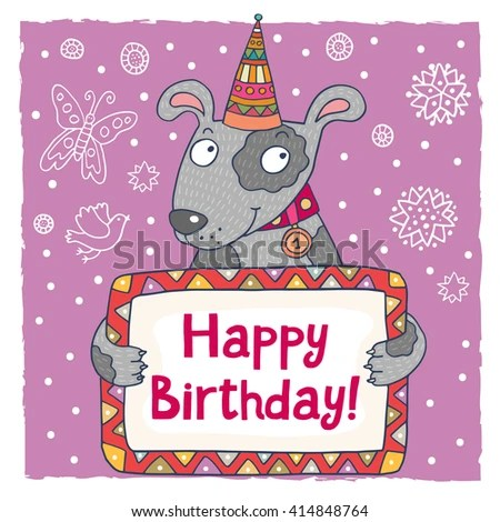 Lovely raster illustration Cute happy birthday greeting card