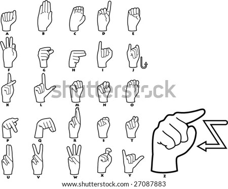 Sign Language Vector - Download Free Vector Art, Stock Graphics  Images - sign language alphabet chart