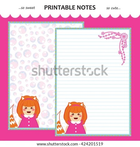 Vector printable letter paper stationery Flat cartoon style Kawaii