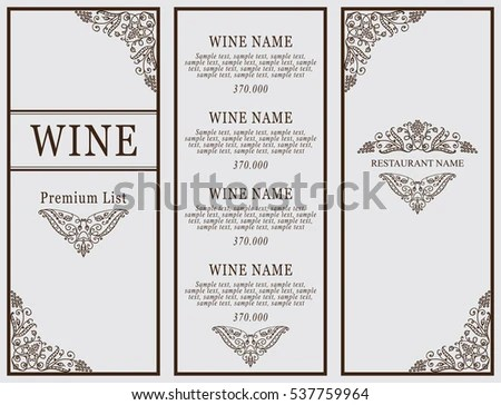 Classic Templates And Wine List - Download Free Vector Art, Stock