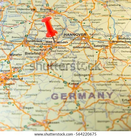 Minden pinned on a map Germany EZ Canvas
