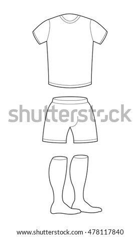 T-shirt, shorts and socks template for design Sample for sports