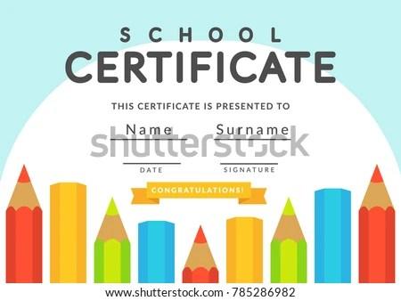 Kindergarten Diploma Certificate Template - Download Free Vector Art - certificate template for kids