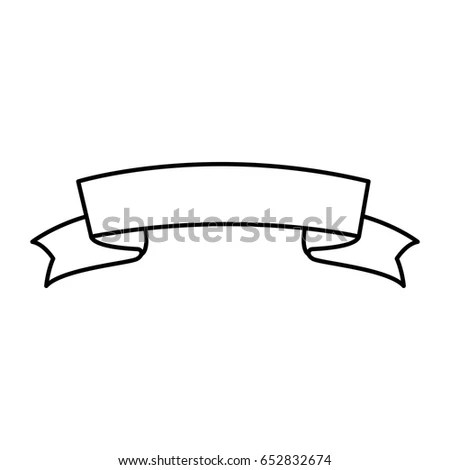 simple black and white cartoon tattoo scroll banner EZ Canvas
