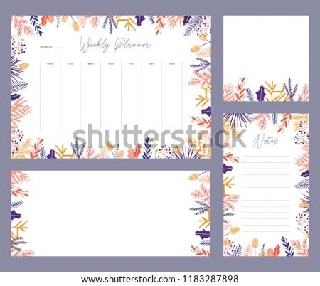 Cute Printable Weekly Calendar Vector - Download Free Vector Art