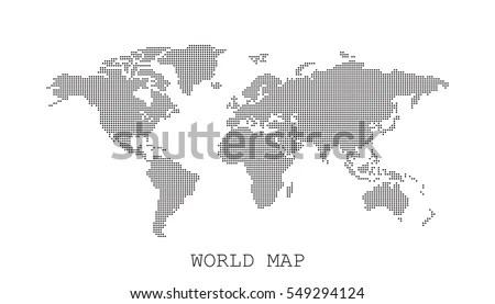 Free Vector Pixel World Map - Download Free Vector Art, Stock