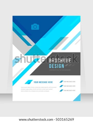 Blue Color Background Busines Book Cover Design Template in A4