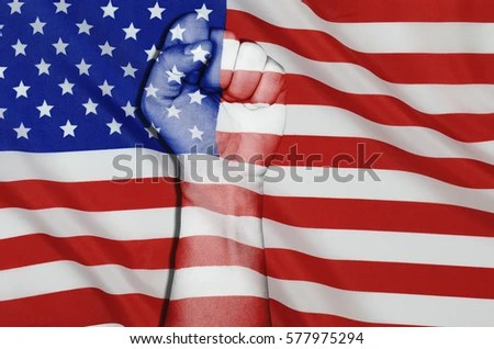 Fist man hand with United States of America flag patterned - America Flag Background