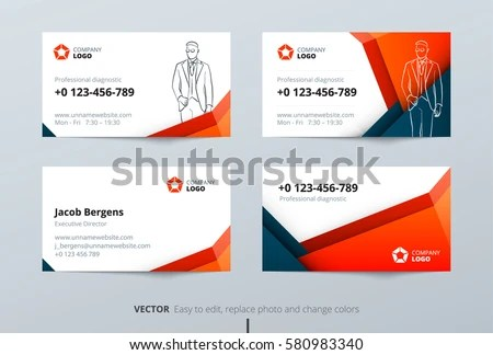 blue vector business card design template in clean style - Download - Buisness Card Template