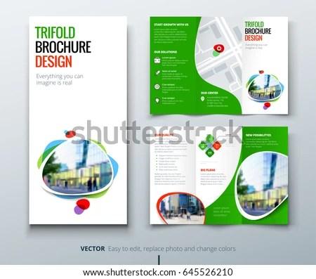 tri-fold brochure design template in modern geometric style