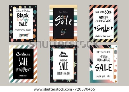 Collection of elegant shiny templates for Christmas sales