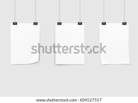 Poster Mockup Hanging With Paper Clips Template - Download Free