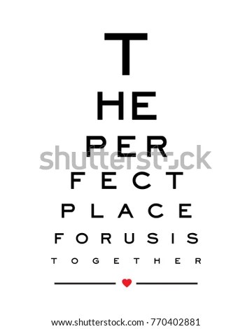 Eye chart snellen wall word typography art design vector for EZ Canvas