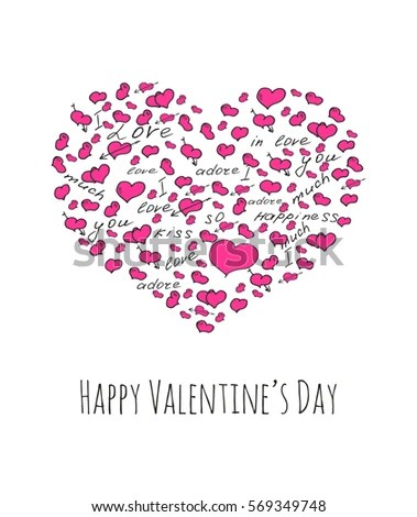 Happy valentines day greeting card with pink hearts and cute font