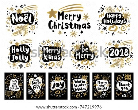Hand Drawn Style Christmas Labels - Download Free Vector Art, Stock - christmas cards black and white