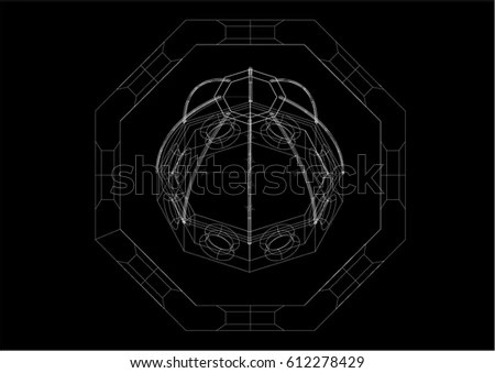 3D wireframe whit structural architecture and plant the Cupola of