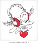 Drawings Of Hearts With Wings And Headphones