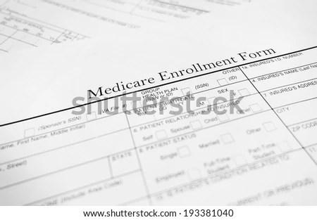 Closeup of a Medicare enrollment form - Healthcare concept EZ Canvas