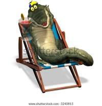 A Funny One Cartoon Crocodile, That Lies In A Beach Chair ...