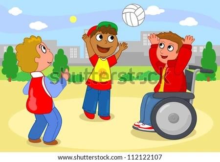 Two Cildren in Diverse Playing Vector - Download Free Vector Art - cartoon children play