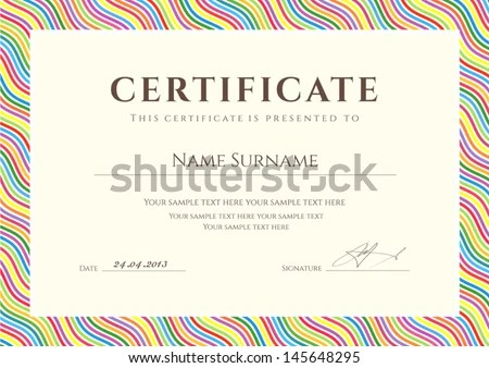 Colorful Certificate Template - Download Free Vector Art, Stock - certificate of completion sample