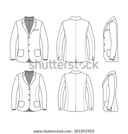 Women\u0027s clothing set Blank template of classic blazer, jeans and