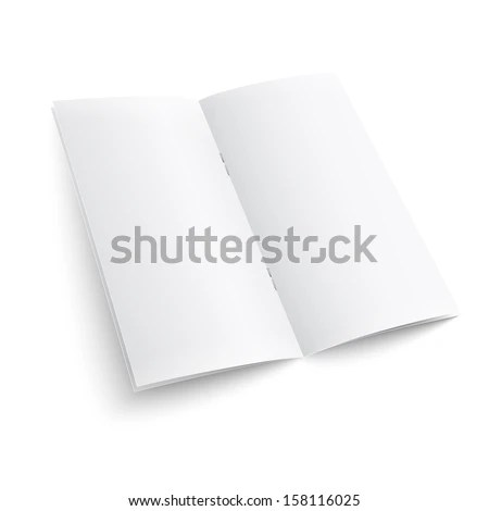 Blank paper brochure with clips on white background with soft