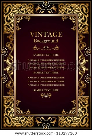 Pin by Svetlana on Vintage burgundy background, antique gold frame - personalized gift certificates template free
