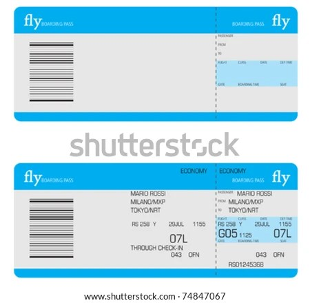 Airline Ticket Vector - Download Free Vector Art, Stock Graphics - plane ticket template