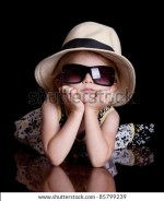 Cute Little Girl Wearing A Hat And Sunglasses