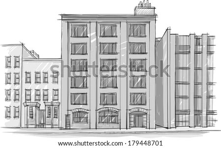 Architecture Sketch Drawing of buildingCity Stock Images Page