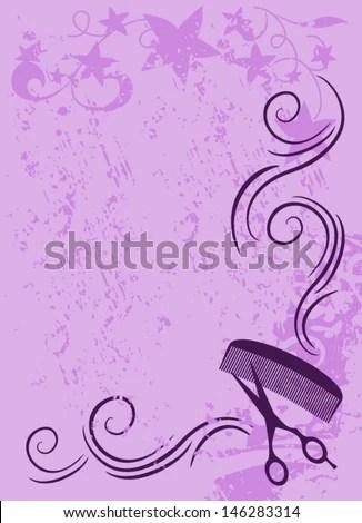 Long Hair Girl Cartoon Hand Painted Wallpaper Ornament Vector Beauty Salon Background In Purple