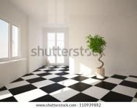 Empty Room With Checkerboard Floor Stock Photo 110939882 ...