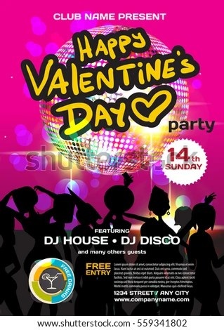Vector valentine\u0027s day party invitation disco style Night club - 's day party invitation