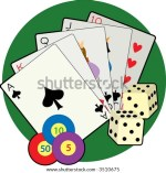 Playing Cards Dice Poker Chips A Green Background Stock Vector