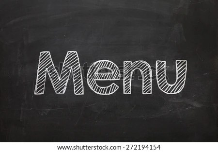Free photos The word Menu handwritten with white chalk on a