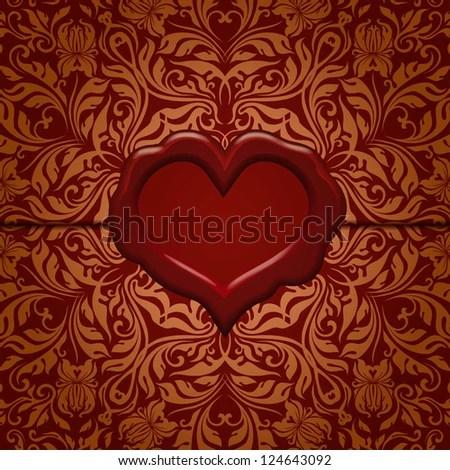 Template frame design for Valentine\u0027s Day card  Ornate love letter