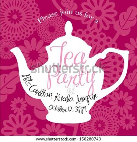 Free Tea Party Invitation Card - Download Free Vector Art, Stock - tea party invitation template